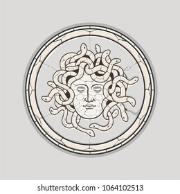 Ancient Mythology Medusa Head Marble Mosaic