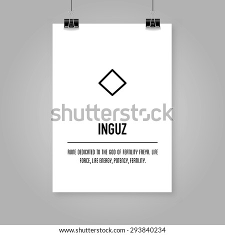 Ancient Old Norse Rune Futhark Inguz Stock Vector Royalty Free