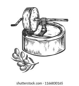 Ancient olive oil press engraving vector illustration. Scratch board style imitation. Black and white hand drawn image.