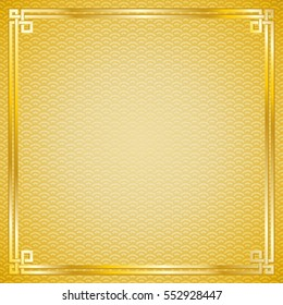 Ancient oriental vintage golden frame on gold pattern background for chinese new year celebration card, vector illustration
