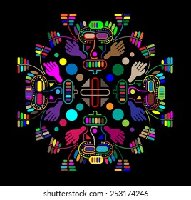 Ancient ornament image of the Incas. Colored ornament.