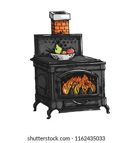 Ancient oven. Old stove. Ink graphic hand drawn illustration. Atmospheric vintage style furnace.