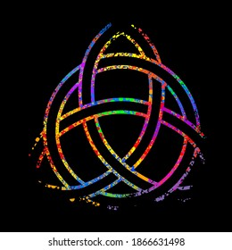 Ancient pagan Scandinavian sacred symbol Celtic cross, knot, a symbol of the Druids, Triskele, Odin's Horn, Triquetra. Multicolored vector isolated print on checkered background