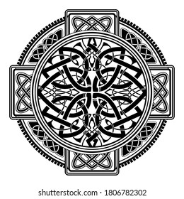 Ancient pagan Scandinavian sacred symbols and ornaments - Celtic cross, knot, a symbol of the Druids, Triskele, Odin's Horn
