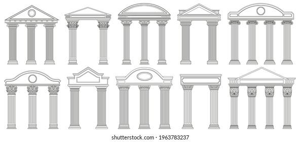 Ancient pediments. Greek and roman architecture temple facade with ancient pillars vector illustration set. Antique architectural pediments. Roman ancient vintage marble, greece facade architecture