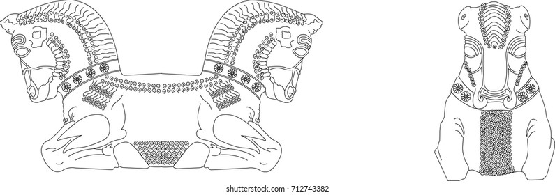 Ancient persia architecture symbol line art vector