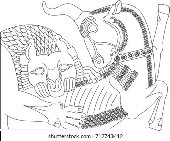 Ancient persia architecture symbol line art vector