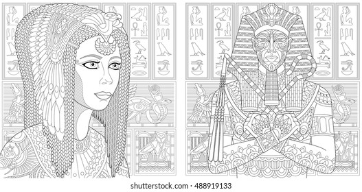 Ancient pharaoh Tutankhamen, queen Cleopatra (Nefertiti), egyptian symbols (hieroglyphs) on the background. Set collection for adult anti stress coloring book page with doodle and zentangle elements.