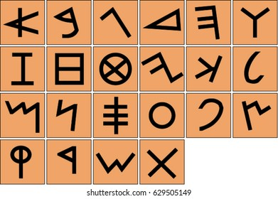 Ancient phoenician alphabet on brown background