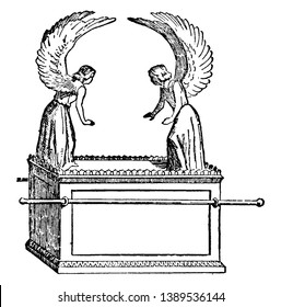 An ancient picture of the Ark of the Covenant which is a sacred chest made by the ancient Israelites according to the command and design of God, vintage line drawing or engraving illustration.