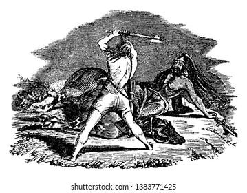 An ancient picture of Mathathias' son, Judas Machabeus, slaying Apollonius, vintage line drawing or engraving illustration.