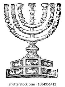 An ancient picture of Seven-branched candle-stick also known as Menorah, vintage line drawing or engraving illustration.