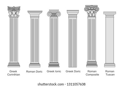 Ancient pillars set isolated on white background. Different architecture pillars with stone effect. Classical columns vector set.