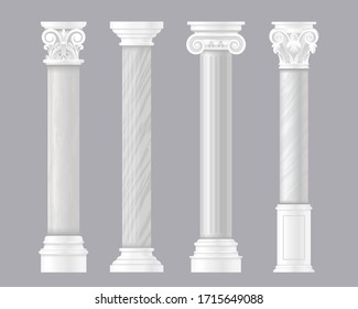 Ancient pillars vector illustrations. Architectural set of Rome or Greek classic marble columns, antique columnar architecture of Roman empire, stone pillar decoration for historic temple or palace