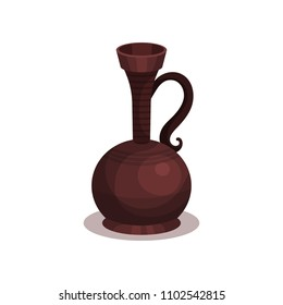 Ancient pottery with handle and narrow neck. Old Greek or Roman vase made from clay. Flat vector illustration