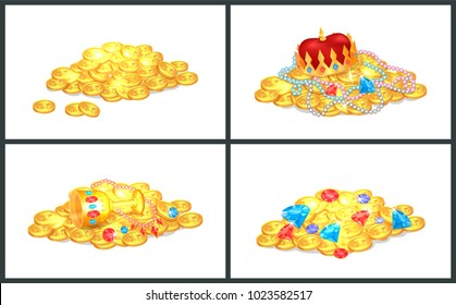 Ancient precious shiny treasures in big heaps set. Gold money, royal jewelry and colorful gems. Old gold treasure in bunches isolated vector illustrations.