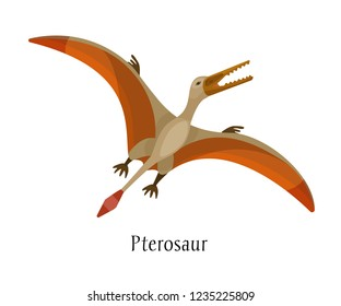 Ancient prehistoric animal dinosaur. Big wild air predatory animal of the prehistoric Mesozoic era. Fly dinosaur bird Pterosaur. Vector illustration in cartoon style.