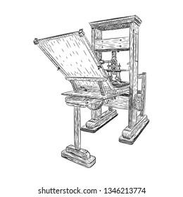 Ancient printing press machine, letterpress illustration