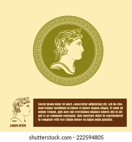 Ancient profile of man logo design template. Corporate icon such as logotype. Graphic outline image of man head classical Greek or Roman style. Vector
