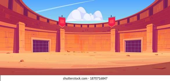 Ancient roman arena for gladiators fight. Vector cartoon illustration of empty Coliseum amphitheater for battle between warriors, barbarian and spartans. Historical fighting arena for traditional show
