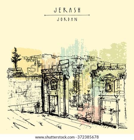 12d568df1cb7 Stock vektory na téma Ancient Roman City Jerash Jordan Middle (bez ...