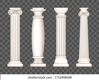 Ancient roman columns, marble architecture decor. Vector realistic antique greek white pillars with capitals in doric, corinthian, ionic and tuscan style isolated on transparent background