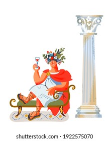 Ancient Roman empire man with glass of wine. Rome history and culture vector illustration. Young patrician in toga and sandals sitting and drinking on white background with column.