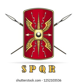Ancient Roman Empire Warriour Shield and Crossed Spears.  Vector illustration.