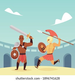 Ancient roman of gladiators, legionary in combat. Greek spartan soldiers with weapons, history characters. Armed warriors is fighting on arena colosseum. Flat vector illustration