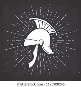 Ancient roman helmet vintage label, Hand drawn sketch, grunge textured retro badge, typography design t-shirt print, vector illustration on chalkboard background.