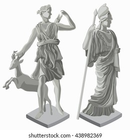 Ancient Roman statue of the goddess huntress Diana and goddess of wisdom Athena isolated on white background. Vector illustration.
