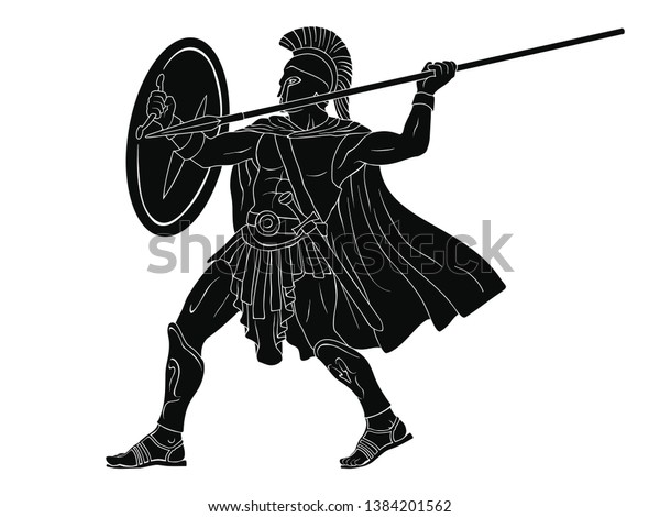 Ancient Roman Warrior Spear Shield His Stock Vector (Royalty Free
