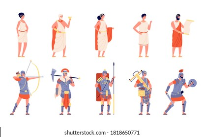 Ancient rome. Ancients people, isolated roman empire character. History greek medieval person, cartoon historical warrior emperor vector set