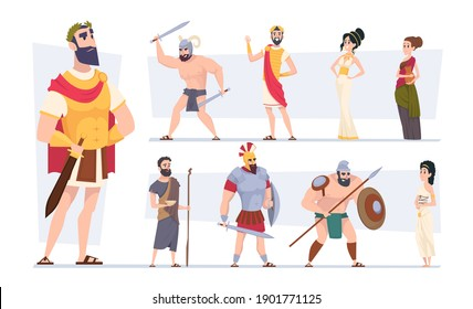 Ancient rome. Authentic clothes of rome traditional citizens medieval outfit coliseum warriors exact vector cartoon characters