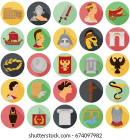 Ancient rome color icons set for web and mobile design