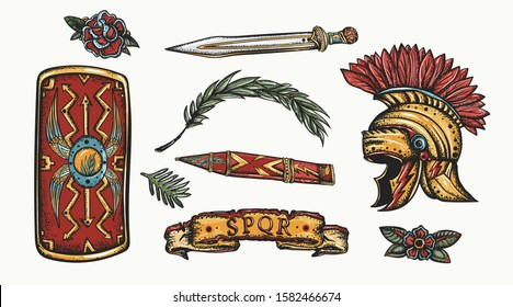 Ancient Rome elements. Old school tattoo collection. Spartan helmet, sword and shield. History of Italy. Traditional tattooing style