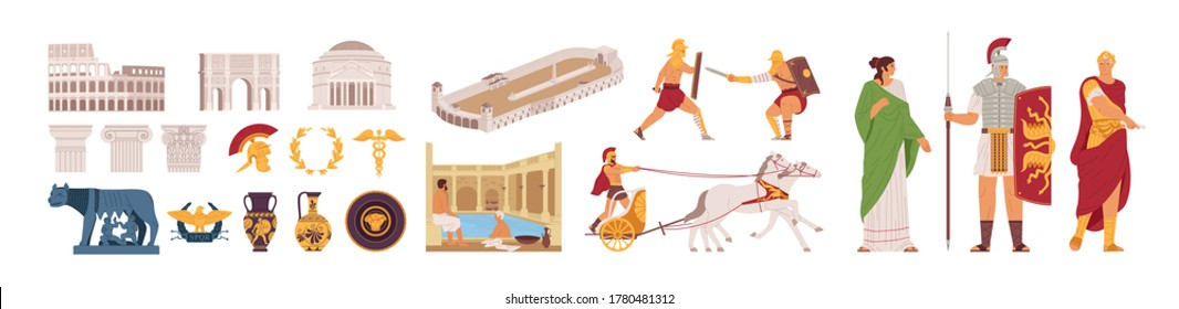 Ancient Rome Empire symbols and characters set vector illustration. Medieval Roman elements - Colosseum, Pantheon, Arc de Triomphe, gladiator fights, laurel wreath, chariot races, and people isolated