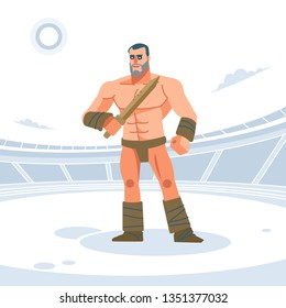 Ancient Rome Gladiator warrior with wooden sword for training. Vector illustration. Flat style