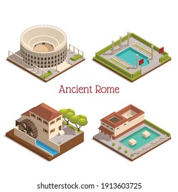 Ancient rome landmarks 4 isometric composition  with colosseum forum tabularium columns ruins  wooden watermill wheel vector illustration