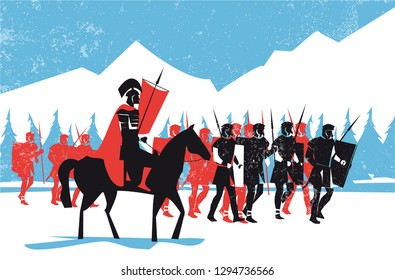Ancient rome legionary march in the Alps mountain, vector illustration