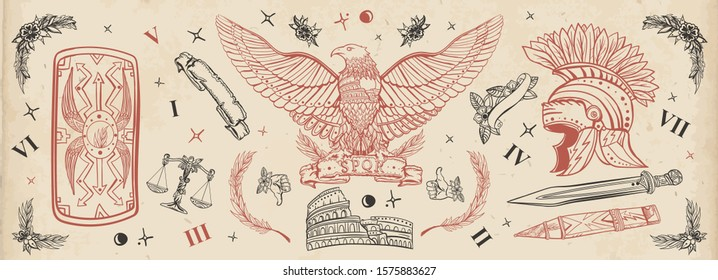 Ancient Rome. Old school tattoo collection. History of Italy. Traditional tattooing style. Roman eagle, spartan helmet, sword and shield, Colosseum