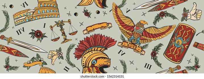 Ancient Rome seamless pattern. Roman eagle, spartan helmet, sword, shield and Colosseum. History of Italy. Traditional tattooing background. Old school tattoo style