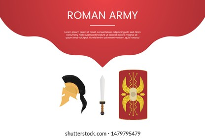 ancient rome or spartha army military concept theme for template banner or landing infographics - vector