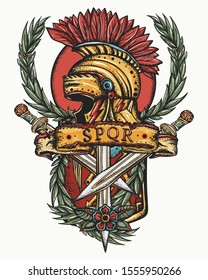 Ancient Rome tattoo. Soldier gladiator art. Italian history. Symbol of war, courage, strength. Spartan helmet, roman shield, crossed swords and laurel wreath