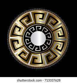 Ancient round decorative ornament. Vector gold black meander pattern on the dark red background. Antique mandala with greek key ornaments. Ornamental design. Graphic decor. Geometric abstract  texture
