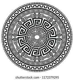 Ancient round ornament. Vector isolated black meander pattern on the white background. Antique mandala with greek key ornament. Ornamental rich design. Graphic decor. Geometric abstract ornate texture