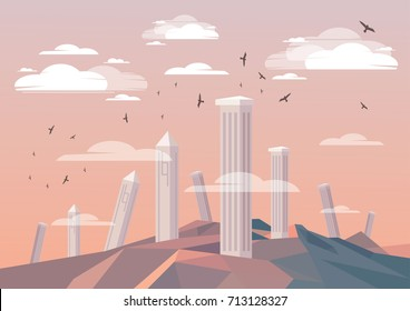 Ancient ruins with flat design style. Vector illustration