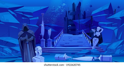 Ancient ruins, old architecture sunken under water in sea or ocean. Vector cartoon illustration of underwater landscape with broken columns, statues, destroyed buildings, stones and fishes