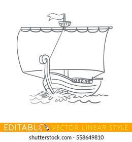 Ancient sailboat. Wooden ship. Editable line drawing. Stock vector illustration.