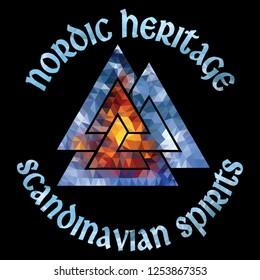 Ancient Scandinavian pagan symbol Valknut, polygonal style, isolated on black, vector illustration